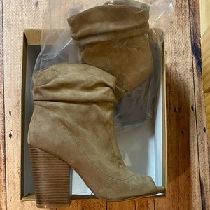 Suede Gray/Taupe Open Toe Ankle Boots Irispark 8.5